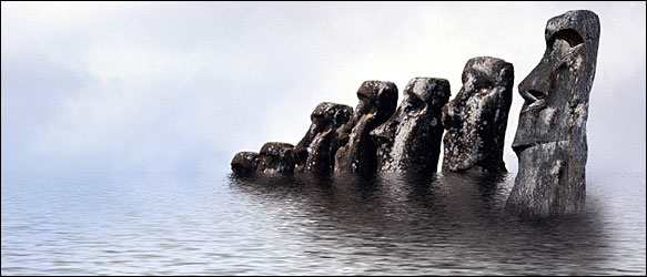 Illustration: Easter Island statues sinking into the sea.