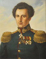 poorly done painting of Clausewitz in Russian general's uniform