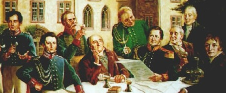 Clausewitz drinking with other Prussian leaders in 1815